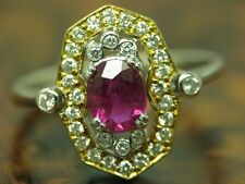 18kt 750 White Gold Ring With 0,33ct Brilliant & 0,80ct Spinel Decorations/Rg 52