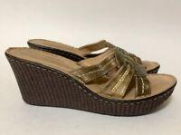 Hush Puppies Womens 8 Sandal Tall Wedge Heels Shoes Metallic Resort Slip On 8 M