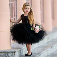 Toddler Kids Baby Girl Heart Sequins Party Princess Tutu Tulle Dress Outfits SX