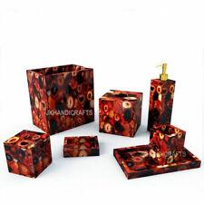 7 Pcs Random Red Agate Stone Inlay Bathroom Set Different Bathroom Accessories