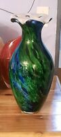 "Murano Art Glass Peacock Haven Vase 16"" x 7"" & Over 10lbs"