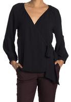 Trina Turk Women's Black V Neck Long Sleeve Hue Wrap Tie Blouse XS NEW