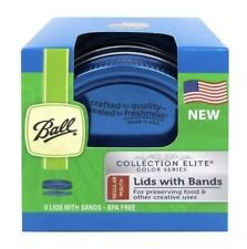 Ball Regular Mouth 6 Lids With Bands Design Series Canning Jar Blue
