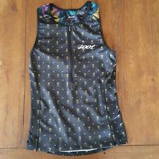 ZOOT Womens Large LTD Tri Tank Triathlon Top Shirt Black Pineapple Compression L