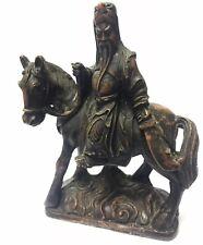 VINTAGE Collectable Japanese Samurai Warrior On Horseback Resin Ornament Statue