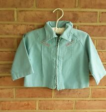 Vintage Toddler Jacket Embroidered Retro Mint Green Unisex Young Fair  12-24 mos