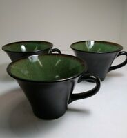 Set of 3 Gabbay By Gibson China Fusion Wasabi Pattern  Coffee Tea Green Cups