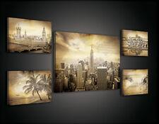 SET (5 teilig) Leinwandbild Wandbild Bild STADT VINTAGE NEW AUSBLICK  2669 S14