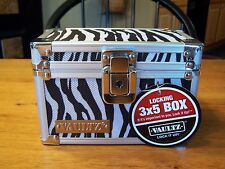 Zebra Vaultz Lock 3x5 Index Card File Box Recipe Personal School FYEO Items Meds