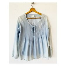 Denim Supply Ralph Lauren M Peasant Top Chambray Blue Pleated Ombre Tie