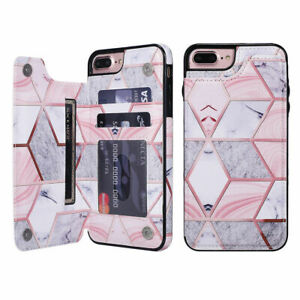 For iPhone SE 7 8 6 Plus XR 11 Marble Leather Flip Wallet Card Holder Case Cover