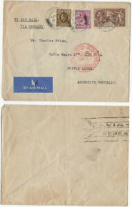 GB KGV 1936 Seahorse 2/6+ airmail cover UK to Buenos Aires via Germany Zeppelin