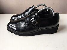 SHOE BOX ladies black pantent leather platform shoes size 7/40