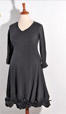 BORIS INDUSTRIES softes Lagenlook Kleid A-Linie Knoten Doubleface Streifen 48(5)