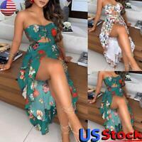 US Summer Beach Women's Off Shoulder Dress High Slit Floral Print Boho Sundress