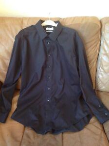 Calvin Klein Black Non Iron Slim Fit Shirt  17  34/35