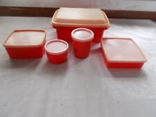 Vintage 5 Piece Red Tupperware Ice Cream Keeper Sandwich Round Container + Lids