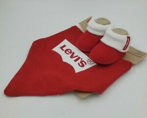 Levi's Baby Booties and Bib Set, 0-6 Months, Red, Shower Gift B32 MP