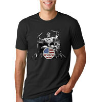 President Abraham Lincoln Rock Drummer Funny Music T-Shirt Mens Graphic Tee