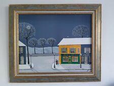 """Gabriel Donnet - """"Clair de lune sur la neige"""" - Tableau original - Art naïf -"""