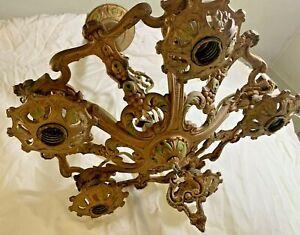 Vintage Cast Brass  5 Light Art Nouveau Chandelier Fixture 1920s Really Nice!!