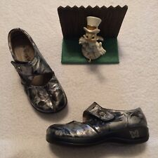 ALLEGRIA KAI Patent Leather Mary Jane Clogs Silver Black Sz EUR 37 US 6.5 Nice