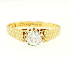 9Carat Yellow Gold Simulated Diamond 5mm Solitaire Ring (Size O)