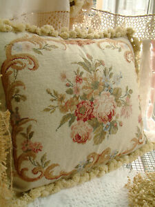 """20"""" Beautiful Retro Antique Reproduction Victorian Country Needlepoint Pillow"""