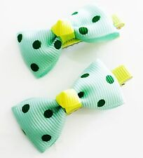 USA SELLER HANDMADE FABRIC Hair Clip PIN Claw Bowknot Kids Child Small Green