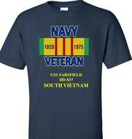 USS SARSFIELD  DD-837 NAVY VIETNAM CAMPAIGN RIBBON & VINYL SHIRT/SWEAT