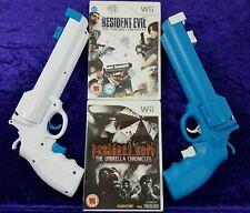 wii RESIDENT EVIL x2 Darkside+Umbrella Chronicles + 2 NEW Revolver Light Guns