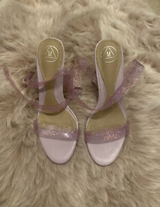Missguided Perspex Glitter Heels Size 6