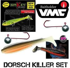 DORSCHKILLER - 3 UV-Farben SET Fox Rage Spikey 12 cm + VMC BAITHOLDER 6/0 60 g