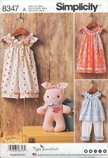 SIMPLICITY SEWING PATTERN 8347 TODDLERS ½-4 DRESS TOP CAPRI PANTS, JUMPSUIT, TOY