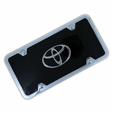 Toyota Chrome Logo On Black License Plate + Frame