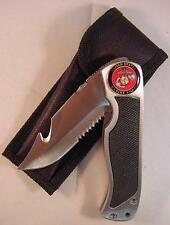 USMC UNITED STATES MARINE CORPS FOLDING KNIFE STAINLESS STEEL BLADE HOOK CASE