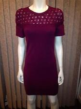 CHANEL 2013 13B Knit Cashmere Short Sleeve Sweater Dress Plum Burgundy 34 $2390