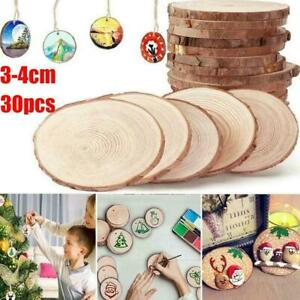 30 x Unfinished Natural Round Wood Slices Circles Discs For DIY Crafts