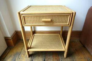 Vintage Bamboo Rattan Bedside Table 1970's Mid Century Cane Boho Tiki Retro Chic