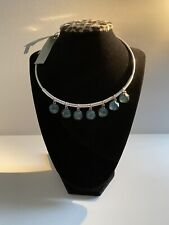 Robert Lee Morris Silver Plated Soho Faceted Blue Stone Wire Wrap Necklace