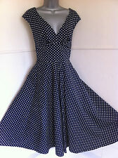 JOHN LEWIS cotton dress 50's style fit&flare navy+white spots net on lining14NEW