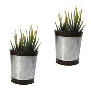 4 Inch Galvanized Metal Wall Planter, 2 Sets Farmhouse Style Hanging Silver