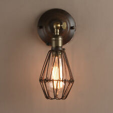 INDUSTRIAL RUSTIC MESH WALL LAMP SCONCE iRON BIRD CAGED WALL LIGHT WITH SWITCHES