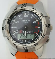 Tissot T Touch Smart Watch Orange Bracelet Mens w Manual