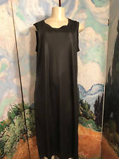MODA XL NEW BLACK FAUX LEATHER HIGH SPLIT SIDE ROUND NECK SLEEVELESS ANKLE DRESS