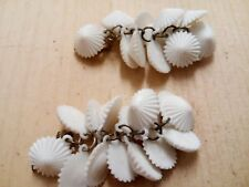 A Pair Of Plastic Drop Earrings With White Shells. Made In Italy
