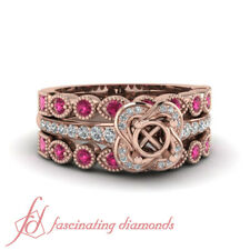 .85 Ct Rose Gold Semi Mount Engagement Ring With Pink Sapphire And Diamond Bands