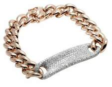 Men's 14k Rose Gold Genuine Diamond Cuban Link Tag Bracelet 3.15ct 11mm (7 In)