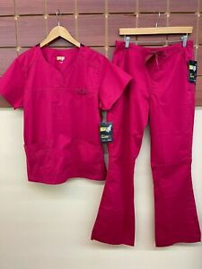 NEW Wink Crimson Solid Scrubs Set With Large Top & Large Tall Pants NWT