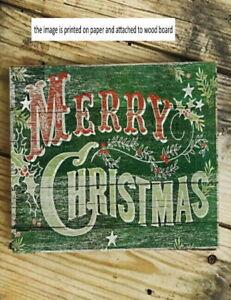 "Vintage Style Merry Christmas Wood Sign Shelf Sitter Desk Sitter 5x5x1/8"""